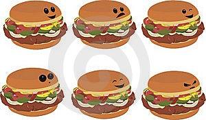 Fast Food Faces - Hamburger Royalty Free Stock Image - Image: 15524776