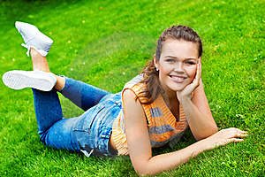Pretty Teen On Green Grass Stock Images - Image: 15524864