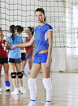 Girls Playing Volleyball Indoor Game Royalty Free Stock Photo - Image: 15528175