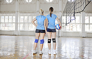 Girls Playing Volleyball Indoor Game Royalty Free Stock Photo - Image: 15531735
