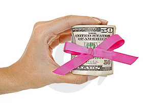 Money Gift In Dollar Bills Stock Photo - Image: 15532020