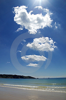 Brilliant Sunshine And Clouds Over Beach Stock Image - Image: 15534091