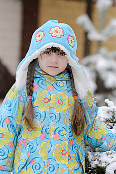 Winter Toddler Girl In Warm  Hat In Forest Royalty Free Stock Photo - Image: 15536125