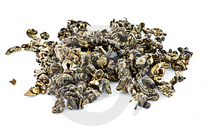 Leaves Of Green Tea On White Isolated Background Royalty Free Stock Image - Image: 15537046
