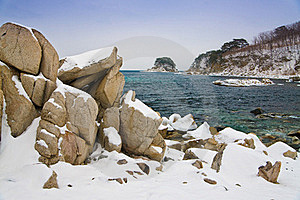 Stones In The Snow Royalty Free Stock Photography - Image: 15539127