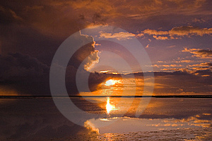 Cloudy Sunset Over The Ocean Stock Image - Image: 15539841