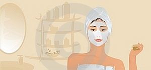 Healthy Girl With Facial Mask Stock Photo - Image: 15540530