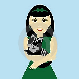 Nice Girl With Cat Royalty Free Stock Photo - Image: 15548525