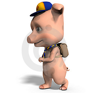 Cute Toon Pig As A Boy Scout Stock Photo - Image: 15548810
