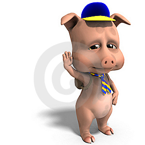 Cute Toon Pig As A Boy Scout Stock Images - Image: 15548814