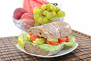 Diet Brown Baguette With Vegetable Royalty Free Stock Image - Image: 15549356