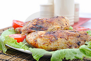 Roasted Chicken Drumsticks And Vegetables Stock Photos - Image: 15549453