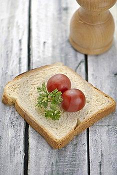 Aranged Food Two Tomatoe On Toast Stock Image - Image: 15551331