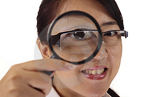 Woman With Magnifying Glass Stock Image - Image: 15553951