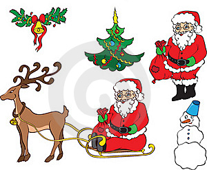 Christmas Card With Sledge And Santa Claus Royalty Free Stock Image - Image: 15556216