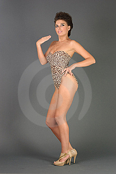 Woman In A Closed Leopard Swimsuit Royalty Free Stock Image - Image: 15556496