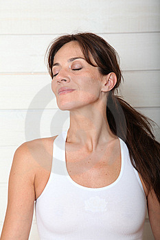 Closeup Of Woman With Eyes Shut Royalty Free Stock Photo - Image: 15559755