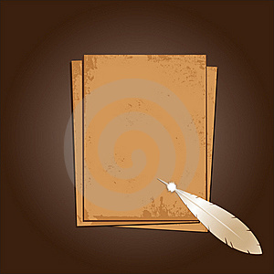 Old Paper With Feather. Grunge Background. Stock Photo - Image: 15561330