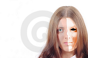 Pretty Girl With A Split Red Mask On His Face Stock Images - Image: 15561644