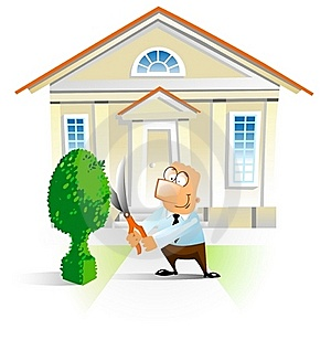 Man Trimming A Bush In Front The House. Royalty Free Stock Images - Image: 15564139