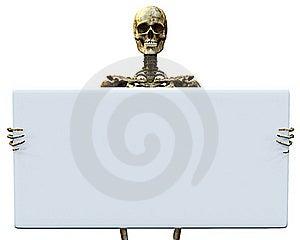 Skeleton Hold Sign 2 Royalty Free Stock Image - Image: 15565306