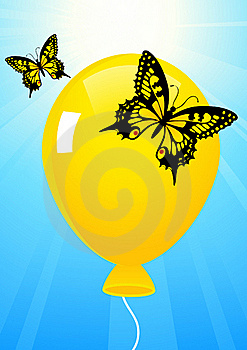 Butterflies And Balloon Stock Images - Image: 15566524
