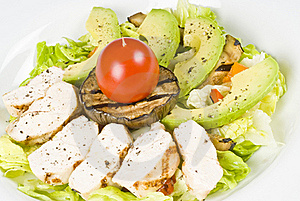 Grilled Chicken Breast Salad With Avocado Stock Images - Image: 15569904