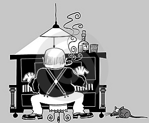 Piano Player In Cartoon Style Royalty Free Stock Images - Image: 15571359