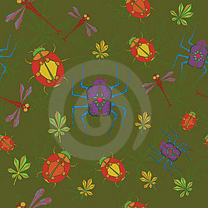 Bugs And Dragonfly Seamless Stock Image - Image: 15571401