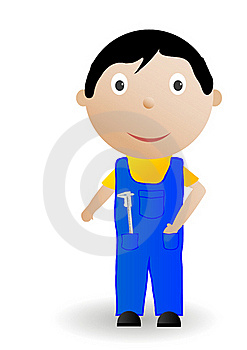 Vector Illustration The Boy With The Tool Stock Photos - Image: 15576403