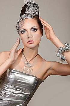 Cosmic Fashion Girl In Expression Dress And Hair Stock Images - Image: 15578894