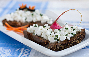 Open Sandwich With Cottage Cheese Royalty Free Stock Photography - Image: 15578987