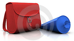 Red Satchel And Blue 'schultuete' Royalty Free Stock Photography - Image: 15581267