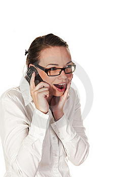 Beautiful Girl Getting Good News Royalty Free Stock Photography - Image: 15581547