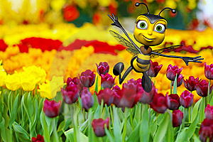 Honey Bee Flying Above The Flowers Stock Photo - Image: 15583860
