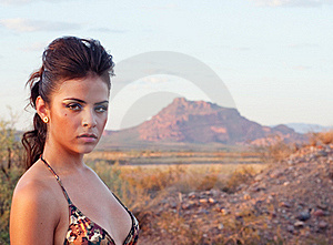 Sexy Beautiful Woman In Wild Desert Landscape Royalty Free Stock Photos - Image: 15585498