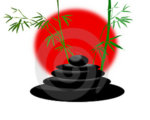 Bamboo Branches And Cairn Stones Stock Images - Image: 15591004