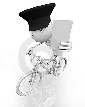 A Postman On A Bike With A Letter Royalty Free Stock Photography - Image: 15592857