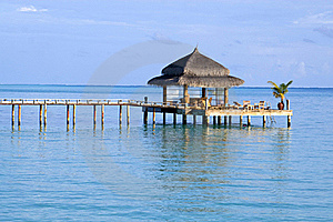 Pathway To Watercafe In Maldives Stock Photography - Image: 15593382