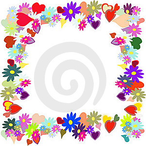 Frame With Flower And Heart Royalty Free Stock Photos - Image: 15597008