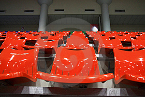 Bright Red Stadium Seats Royalty Free Stock Photography - Image: 15598217