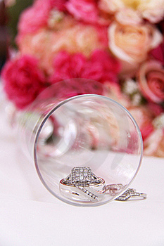 Wedding Rings Inside Glass Royalty Free Stock Image - Image: 15599216