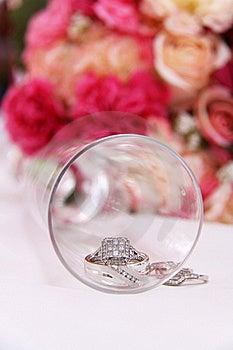 Wedding Rings Inside Glass Royalty Free Stock Image - Image: 15599216