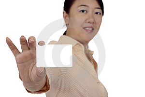 Woman With Business Card Royalty Free Stock Photos - Image: 15599728