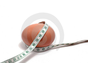 Measurement tape wrapped around the egg