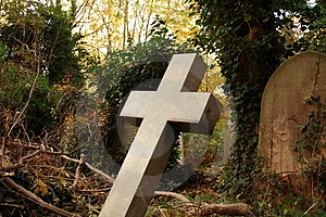 Leaning Stone Cross Royalty Free Stock Image - Image: 1566316