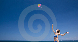 Flying A Kite Royalty Free Stock Photography - Image: 15601227