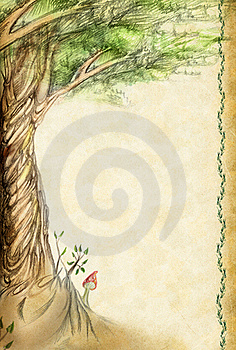 Old Sheet With A Picture As A Tree Royalty Free Stock Images - Image: 15601649