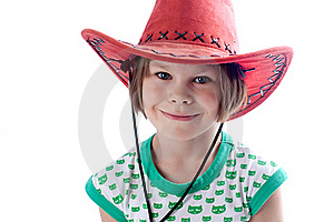 Beautiful Little Girl In A Red Hat Royalty Free Stock Image - Image: 15602896