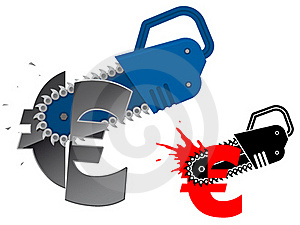 Euro Currency Symbol Destroyed With Chainsaw Royalty Free Stock Photos - Image: 15602898